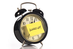 Alarm Clock with a note Royalty Free Stock Image