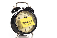 Alarm Clock with a note Stock Image