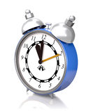 Alarm clock old style on a white background (3D rendering). Royalty Free Stock Photography
