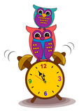 Alarm Clock and Owl Royalty Free Stock Photography
