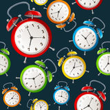 Alarm Clock Pattern Background. Vector Royalty Free Stock Images