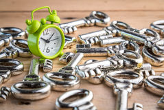 Alarm clock and pile of keys. Business concept royalty free stock image