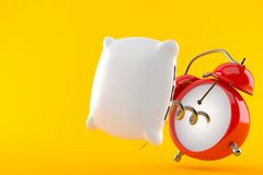 Alarm clock with pillow. Isolated on orange background. 3d illustration Royalty Free Stock Photo
