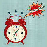 Alarm clock in pop art style Stock Photo