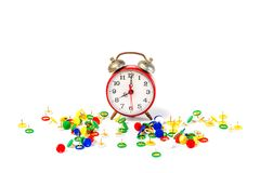 Alarm clock with pushpin. Alarm clock with colorfull  pushpin Royalty Free Stock Photography
