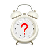 Alarm clock with question mark. Realistic white alarm clock  without digits on clock face, with red question mark in the center, on white background. Uncertainty Stock Photography