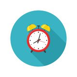 Alarm clock red icon with shadow isolated on white background in flat style. Stock Image