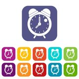 Alarm clock retro classic design icons set flat Stock Images