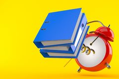Alarm clock with ring binders. Isolated on orange background. 3d illustration Stock Images