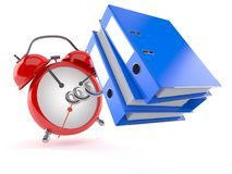 Alarm clock with ring binders. On white background Royalty Free Stock Photo
