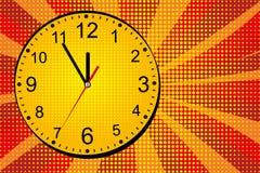 Alarm clock ring comic book. Pop art retro comic. Yellow-red cartoon background. Vector. Illustration royalty free illustration