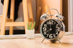 alarm clock ring wake up 8 am in the mornig Royalty Free Stock Photo