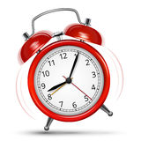 Alarm Clock. Ringed  jumped classic red alarm on white background. Vector illustration Stock Photography