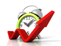 Alarm Clock With Rising Up Growing Arrow. Time Success Concept Stock Photography