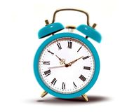 Alarm clock with roman numbers ringing Royalty Free Stock Photos