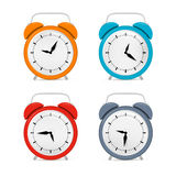 Alarm Clock Set. Isolated on White Background Stock Images
