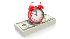 Alarm clock set on stacks of 100 dollar banknotes Royalty Free Stock Images