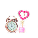 Alarm clock and sign of love Stock Photography