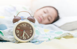 Alarm clock on six o'clock Stock Images
