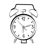 Alarm clock sketch. An alarm clock sketch on white background Stock Photography