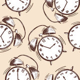 Alarm clock sketch seamless pattern Stock Images