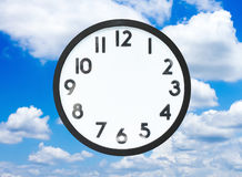 Alarm clock and sky. With no hand stock image