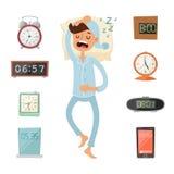Alarm clock and sleeping man  illustration. Sleeping man silhouette. Alarm  clock watches. Morning time. People sleep. Deep night or morning time. Alarms Stock Photos