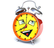 Alarm clock with smiley face. Eight o'clock Stock Photo