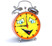 Alarm clock with smiley face. Nine o'clock Royalty Free Stock Image