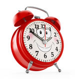 Alarm clock with a smiling face isolated on white background. 3D illustration Royalty Free Stock Image