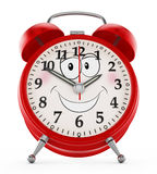 Alarm clock with a smiling face isolated on white background. 3D illustration Royalty Free Stock Photography