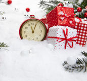Alarm clock with snow Royalty Free Stock Photography