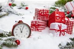 Alarm clock with snow Royalty Free Stock Image