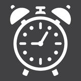 Alarm clock solid icon, time and deadline Stock Photo