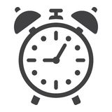 Alarm clock solid icon, time and deadline Stock Photography