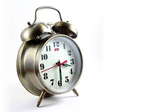 Alarm clock. Space used for writing on a white background taken in alarm clock Stock Image