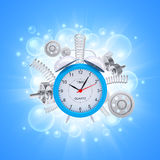 Alarm clock with springs and white gears Royalty Free Stock Image