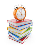 Alarm clock standing on stack of books. 3D stock illustration