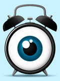 Alarm clock with staring eyeball. Classic alarm clock with staring eyeball vector illustration
