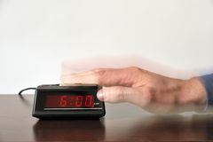 Alarm clock stopped at six o'clock Stock Image