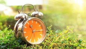 Alarm clock in sunlit on background spring field green and yellow stock image