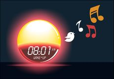 Alarm clock sunrise shining & bird singing timer gadget illustration. Easy waking device Royalty Free Stock Image