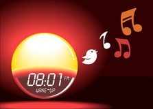 Alarm clock sunrise shining & bird singing timer gadget illustration. Easy waking device Stock Images