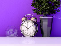 Alarm clock on a table with a plant. 3D Royalty Free Stock Images