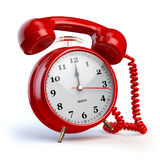 Alarm clock and telephone receiver. Support or 24 7 support conc Royalty Free Stock Photography