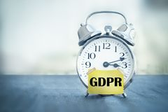 GDPR General Data Protection Regulation alarm clock. Alarm clock with text GDPR General Data Protection Regulation Royalty Free Stock Photo