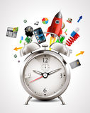 Alarm clock - time management. Concept Stock Images
