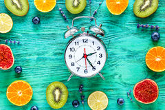 Alarm clock - time to breakfast with fruits, mock-up Royalty Free Stock Images