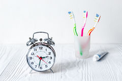 Alarm clock time to brush teeth Stock Photography