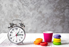 Alarm clock time to drink coffe Royalty Free Stock Photo